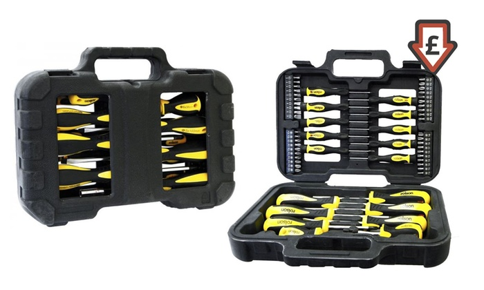 62 off 58 piece screwdriver and bit set groupon. Black Bedroom Furniture Sets. Home Design Ideas