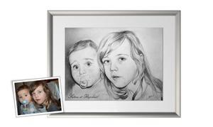 Crayons de soleil: 1 portrait d'art au crayon en noir et blanc au choix dès 25,99 € avec Crayons de soleil