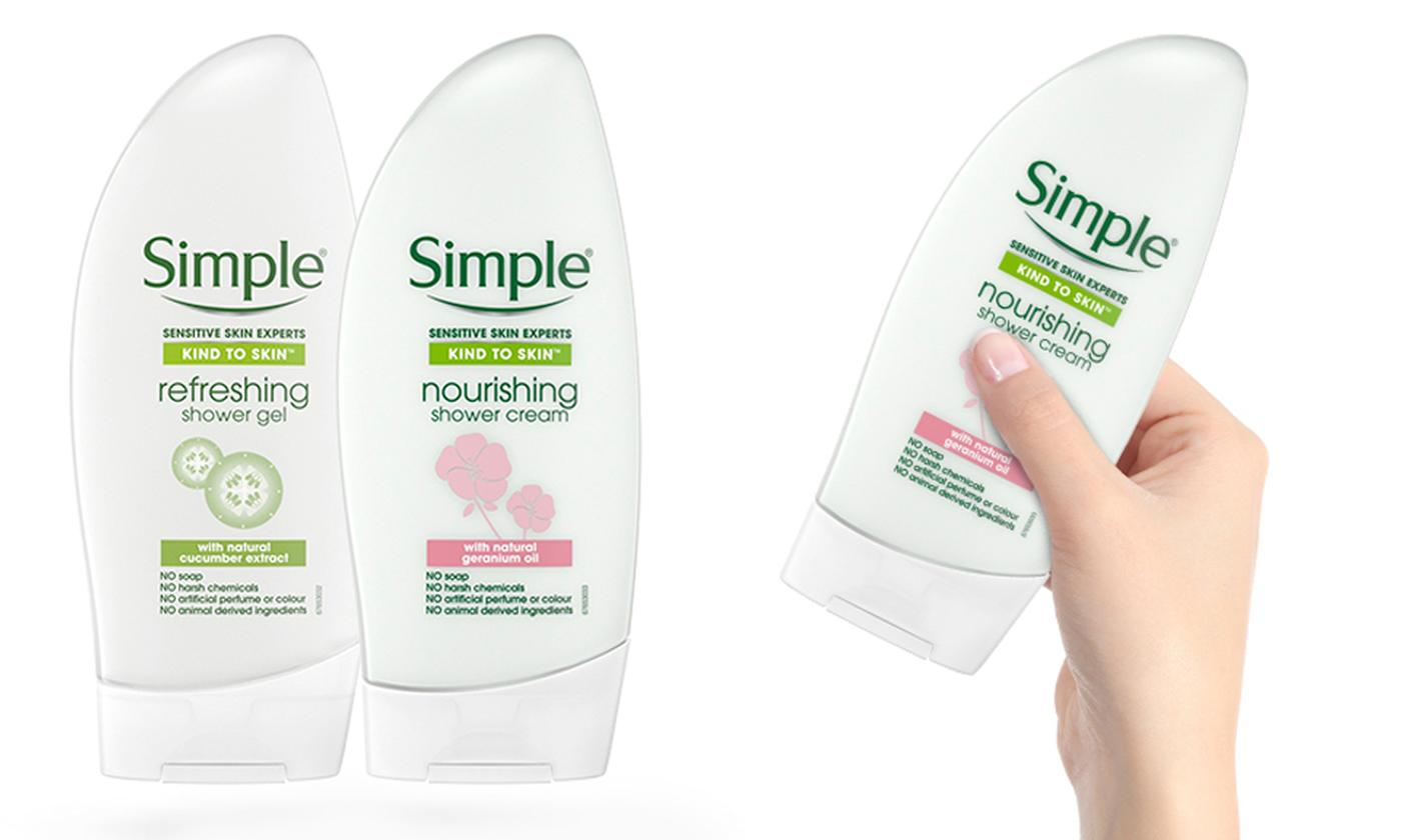 Six-Pack of Simple Kind to Skin Nourishing Shower Cream or Refreshing Shower Gel 250ml