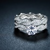 Cubic Zirconia Braided Bridal Ring Set in 18K White Gold Plating