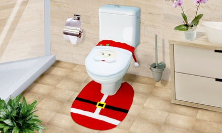One, Two, or Three Santa Claus Toilet Seat Cover and Mat Sets
