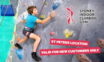 Rock Climbing Package: 1 Child $12.90 or Family of 5 $39.90 at Sydney Indoor Climbing Gym St Peters Up to $79 Val