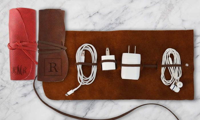 Monogrammed Genuine Leather MultiCord Organizer Groupon
