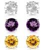 6.00 CTTW Lab-Created Gemstone Stud Earrings Set (3 Pairs)