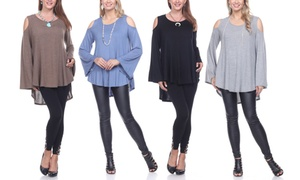 Women's Plus Size Cold-Shoulder Sweater Tunic