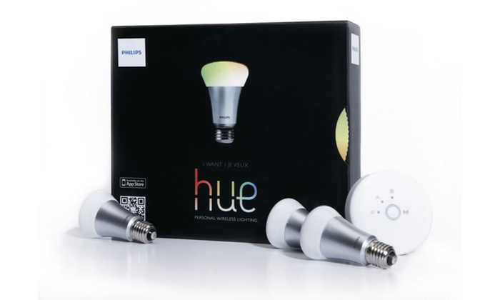 Philips Hue Light-Bulb Starter Kit (4-pc) (Manufacturer ...:Phillips Hue White and Color Changing Starter Kit, 3 Bulbs and Bridge  (Manufacturer Refurbished,Lighting