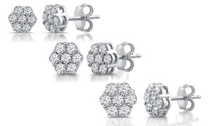 1/4–1.00 CTTW Diamond Flower Earrings in Sterling Silver by DeCarat