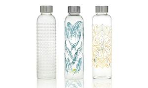 22-Ounce Decorative Glass Water Bottles