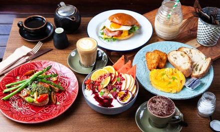 Breakfast with Tea or Coffee for One ($13), Two ($26) or Four People ($52) at Honey and Bear Cafe (Up to $87.60 Value)