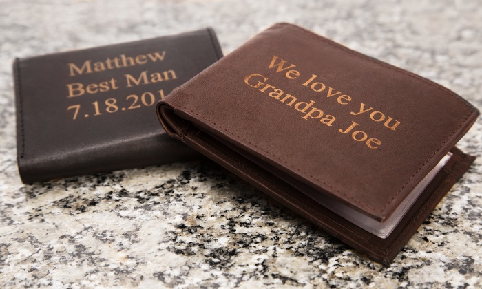 Engraved Men's Leather Wallets (Up to 56% Off)