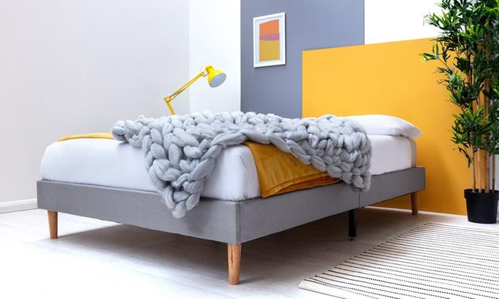 Edworth Grey Fabric Platform Bed Frame with Optional Mattress