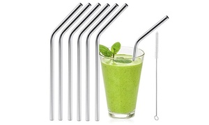 Reusable Stainless Steel Drinking Straws (6- or 12-Pack)