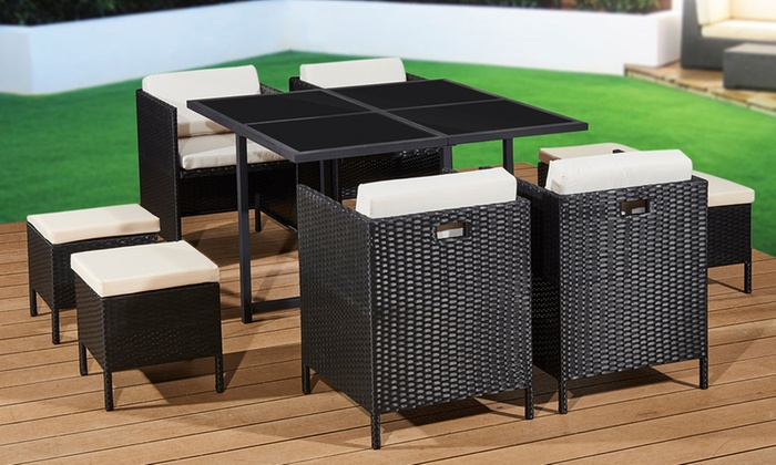 Nine-Piece Rattan-Effect Cube Furniture Set