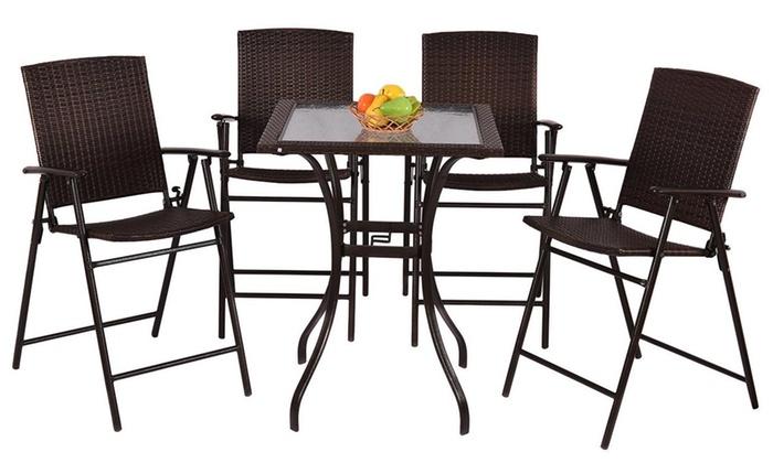 3PCS Outdoor Poly Rattan Bistro Bar Set Dining Set Folding Bar Table Chair Stool