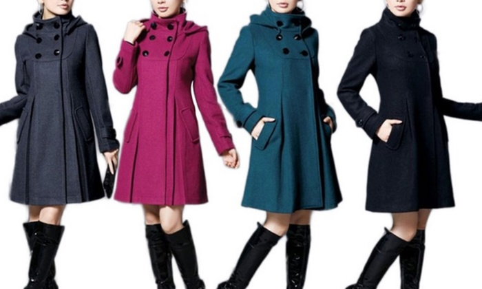 Groupon Goods Global GmbH: Women's Wool Blend Smart Coat for €33.98 With Free Delivery (64% Off)
