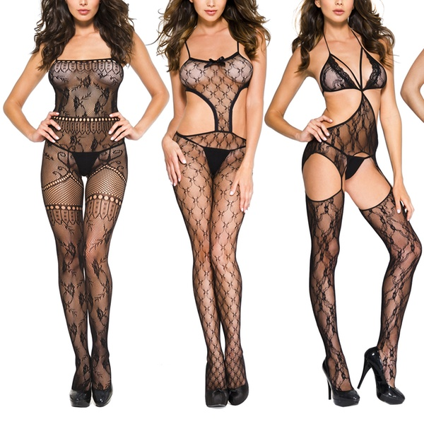 Floral Lace And Fishnet Crotchless Bodystocking Plus Size Foxhq 1