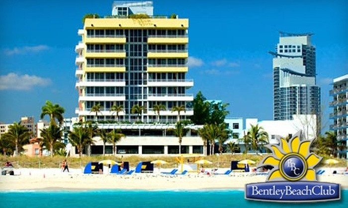 Bentley Beach Club - South Pointe: $25 for a Day at the Beach, Two Beach Chairs, an Umbrella, and Valet Parking from the Bentley Beach Club ($50 Value)