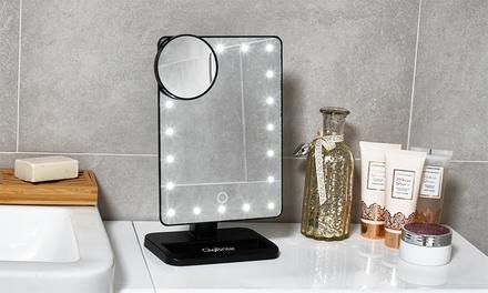 Miroir grossissant GloBrite jusqu'à 10 fois avec lumière LED intégrée, blanc ou noir à 26,90 €