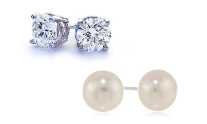 2 00 Ctw White Topaz Or Freshwater Pearl Stud Earrings