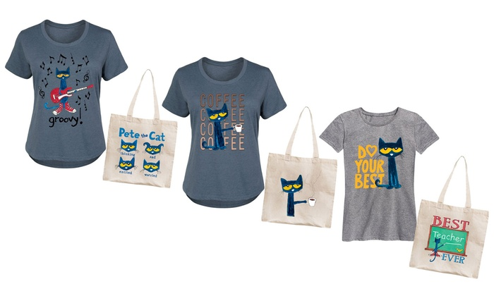 ef40461b Women's Licensed Pete The Cat T-Shirt and Tote 2-Pack. Plus Size Available.