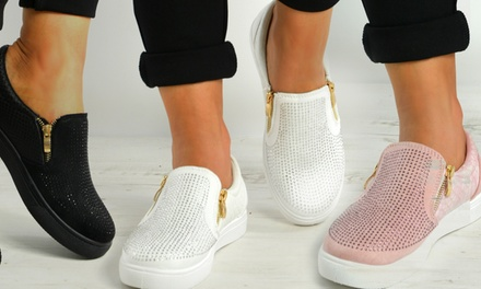 Women's Glitter Plimsolls with Zip Detail