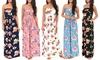 Women's Floral Strapless Vacation Sun Maxi Dress