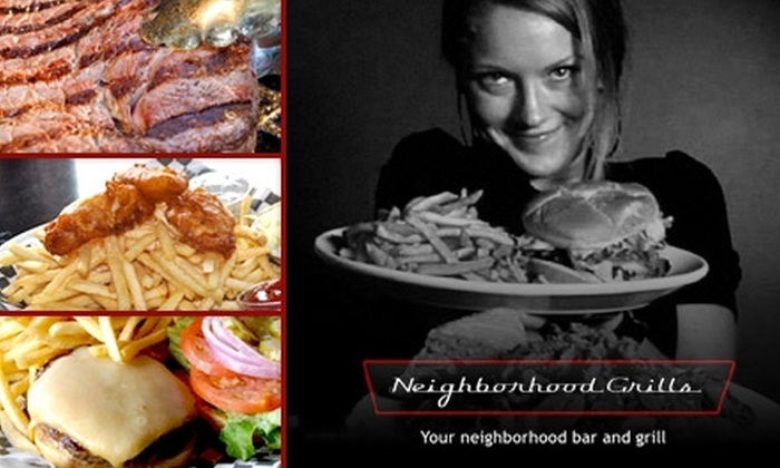 Neighborhood Grills - Multiple Locations: $50 Worth of Pub Fare and Drinks at Neighborhood Grills