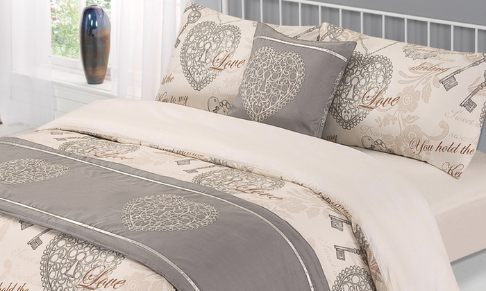 Dreamscene Six-Piece Antoinette Complete Bedding Set in Choice of Size from £17