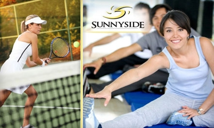 Sunnyside Health & Tennis Club - Fresno: $15 for Two One-Hour Adult Group Tennis Lessons or Three Group Fitness Coaching Sessions at Sunnyside Health & Tennis. Choose Between Two Options.