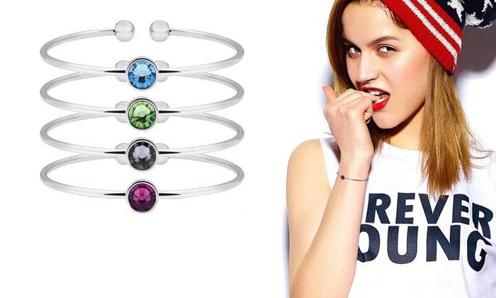 Groupon Goods Global GmbH Bracelet Jonc plaqué or blanc 18 carats et orné  de cristaux