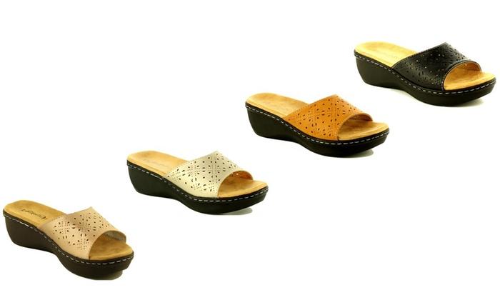 Women's Open-Toe Padded Low-Wedge Sandals