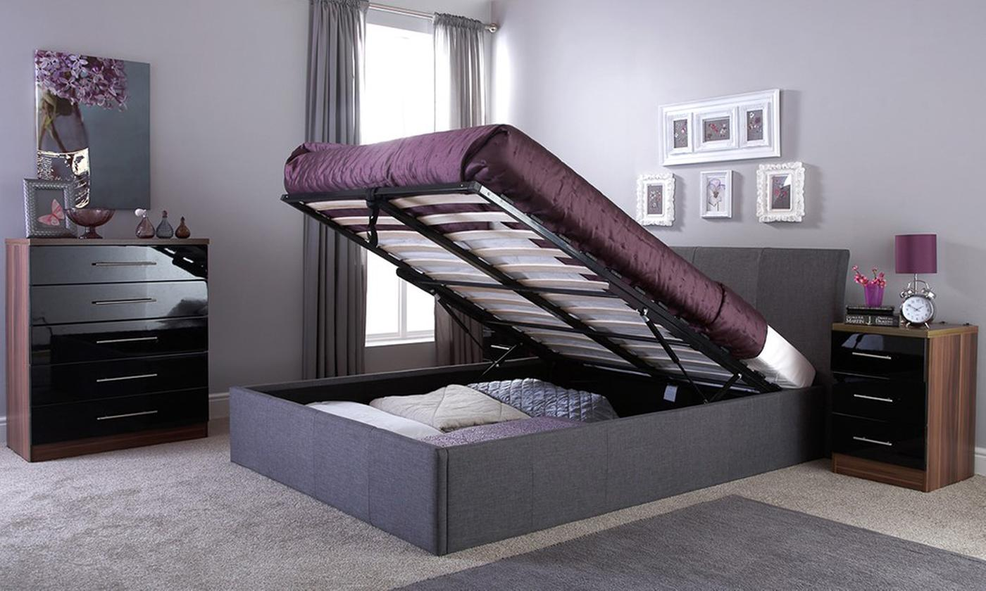 Windsor Fabric Ottoman Bed with Optional Bonnell Spring Mattress (£340)