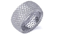 Solid Sterling Silver Cubic Zirconia Micropave Eternity Band by Mina Bloom
