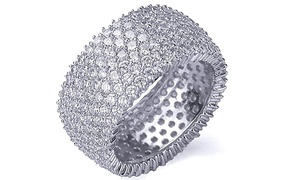 Sterling Silver Cubic Zirconia Micropave Eternity Band by Mina Bloom