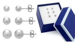 Sterling Silver Trio Ball Stud Earrings Set in Gift Box