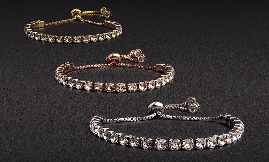 Adjustable Studded Tennis Bracelet Made with Swarovski Elements by Nina &  Grace (Multiple Options Available)