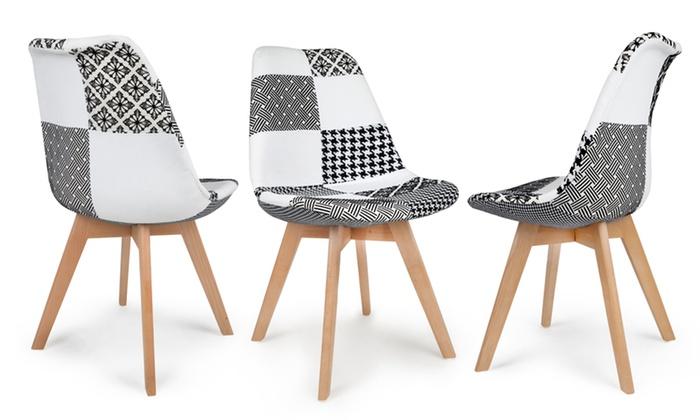 lot de chaises scandinaves patchwork groupon. Black Bedroom Furniture Sets. Home Design Ideas