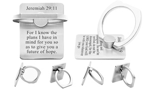 Pink Box Solid Brushed Stainless Steel Universal Scripture Ring Holder