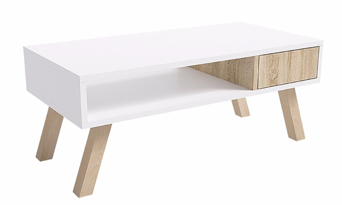 Jusqu 39 53 table basse en bois groupon for Groupon table basse