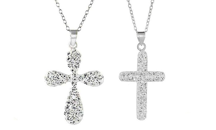 Silver swarovski cross necklace groupon goods sterling silver white swarovski elements crystal cross necklace aloadofball Choice Image