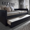 Risom Twin Faux Leather Upholstered Day Bed with Trundle