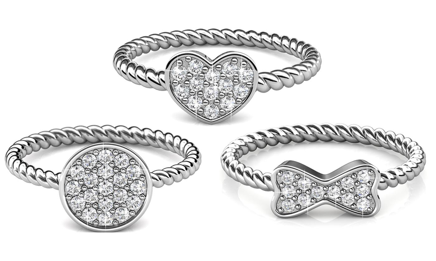One, Two or Three Twisted Rings Made with Crystals from Swarovski®