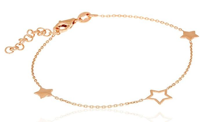 zapatos deportivos 624f4 7c891 Pulsera Estrella de plata de ley 925 bañada en oro rosa
