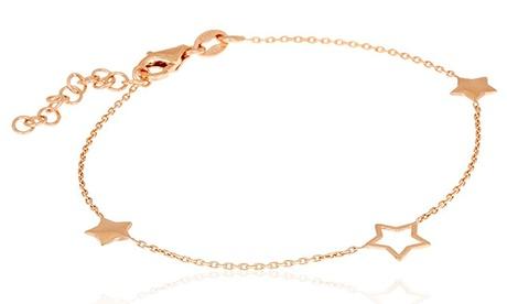 Pulsera Estrella de plata de ley 925 bañada en oro rosa