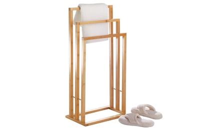 Three-Bar Bamboo Towel Rack