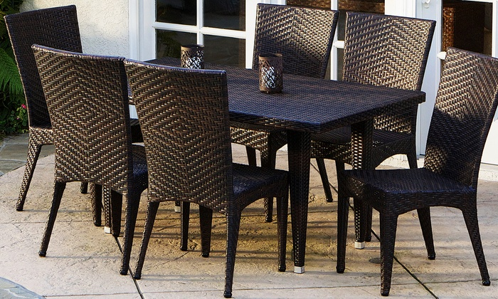 Outdoor wicker dining set 7 piece groupon for Outdoor furniture groupon