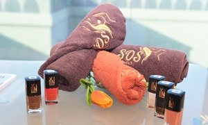 SOS Beauty Lounge: Classic or Gel Manicure and Pedicure with Optional Organic Facial at SOS Beauty Lounge (Up to 75% Off)