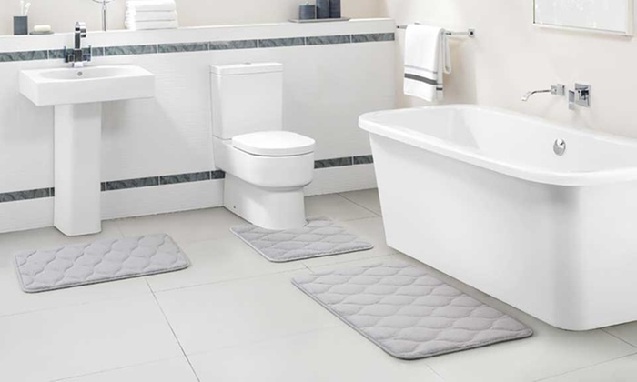 Up To 66 Off On Memory Foam Bath Rug Set 3 Pc Groupon Goods