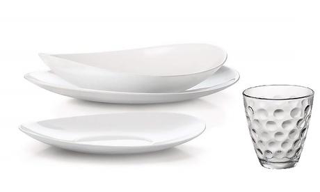 Image of Servizio per 12 persone, con 36 piatti Prometeo Bormioli e 12 bicchieri Luminarc