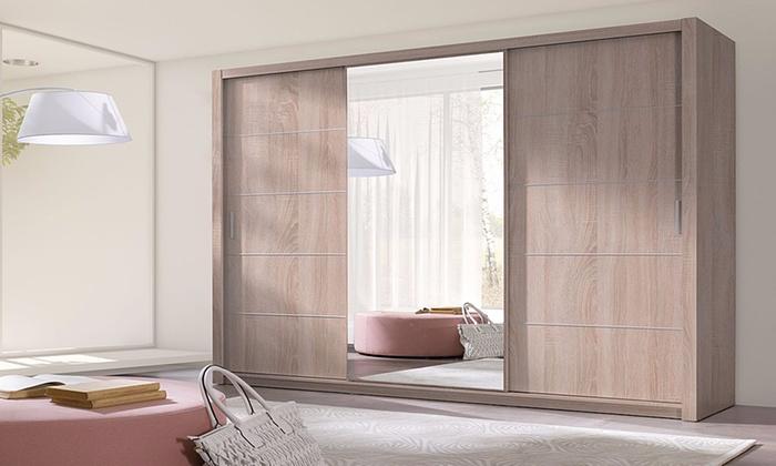 Moderne kledingkast met spiegel groupon goods